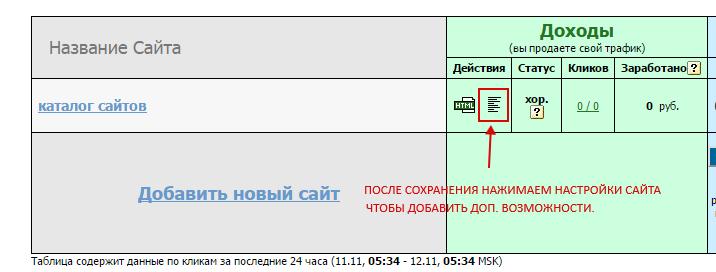 Настройки сайта в системе рекламы Tak.ru
