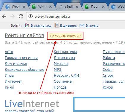 Получение счётчика статистики от LiveInternet